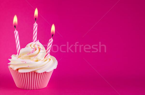 Cumpleanos decorado tres rosa velas Foto stock © RuthBlack