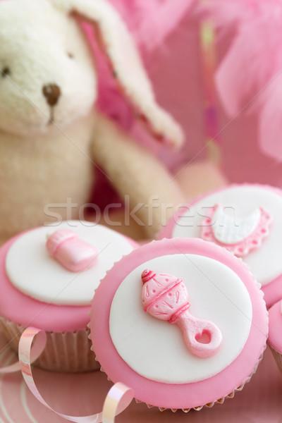 Minitorták baba zuhany díszített kislány étel Stock fotó © RuthBlack
