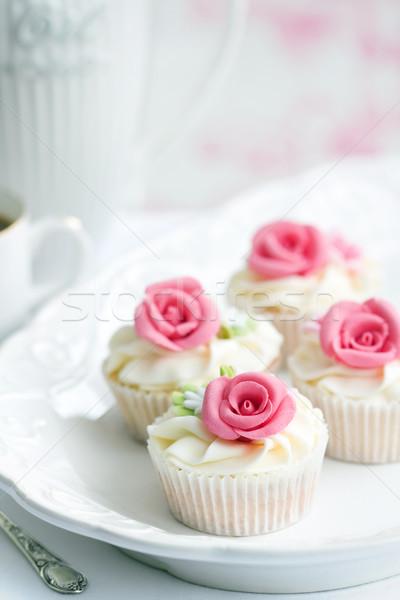 Rose servi blanche plaque fleur Photo stock © RuthBlack