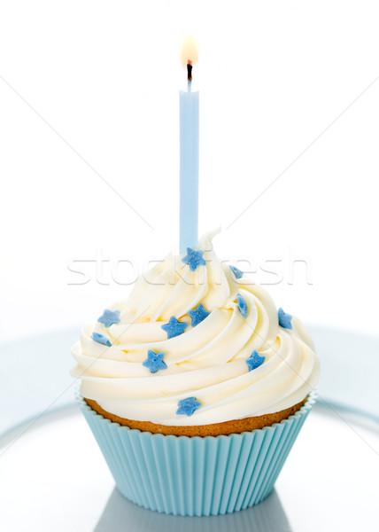 Foto d'archivio: Compleanno · blu · bianco · piatto · candela