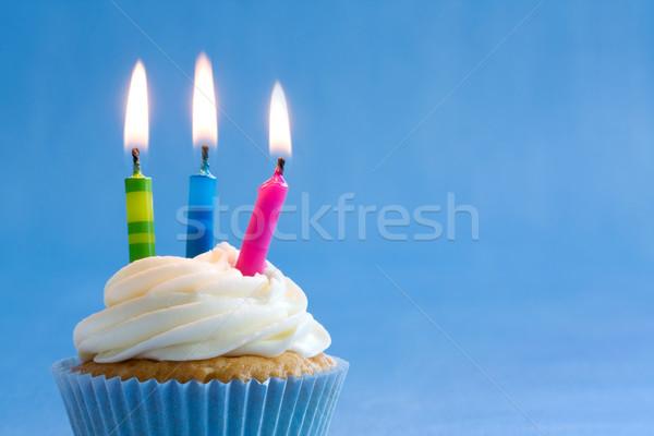 Születésnap minitorta díszített színes gyertyák buli Stock fotó © RuthBlack