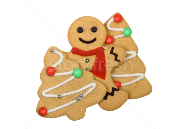 Pain d'épice cookies gingerbread man arbre de noël arbre sourire Photo stock © RuthBlack