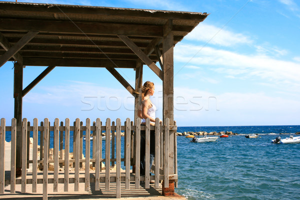 Girl looking to sea Stock photo © ruzanna
