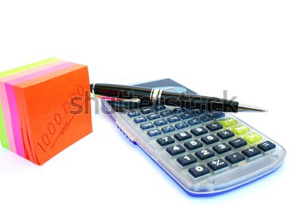Foto stock: Calculadora · pluma · papel · colorido · documentos · aislado