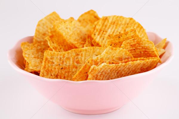 Batatas fritas tigela rosa isolado cinza grupo Foto stock © ruzanna