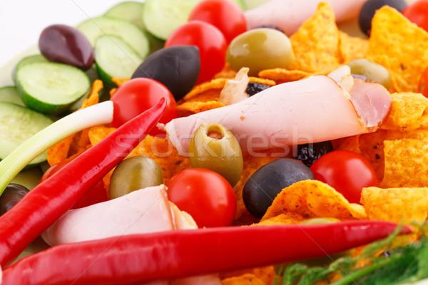 Foto d'archivio: Nachos · olive · carne · di · maiale · verdura · immagine
