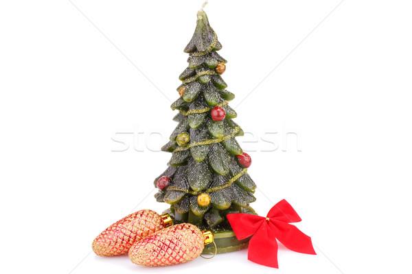 Karácsony dekoráció fenyőfa gyertya vörös szalag izolált Stock fotó © ruzanna