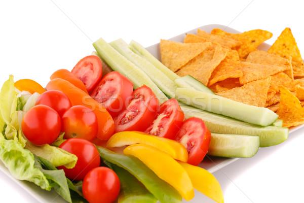 ナチョス 野菜 孤立した 白 背景 緑 ストックフォト © ruzanna
