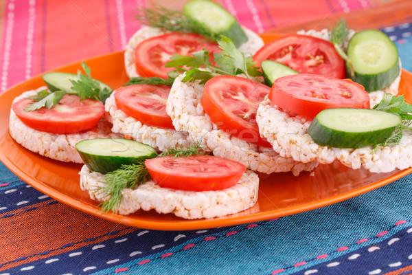 Puffed rice crackers sandwiches Stock photo © ruzanna