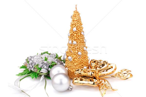 Natal decoração vela fita flor Foto stock © ruzanna