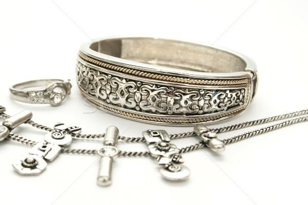 Nyaklánc ezüst ősi stílus izolált fehér Stock fotó © ruzanna