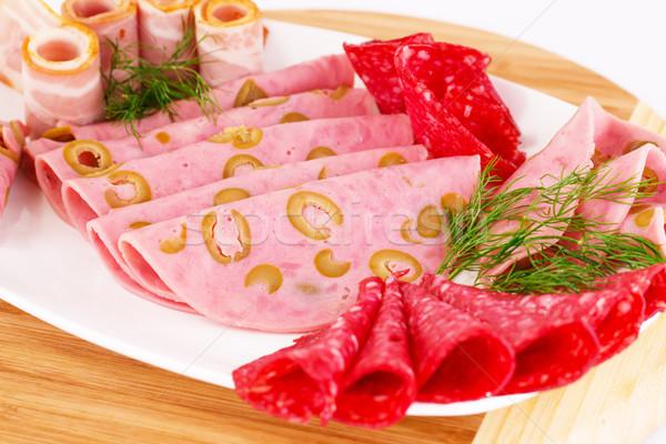 Salami, mortadella and bacon Stock photo © ruzanna