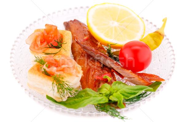 копченый рыбы свежие овощи лимона пластина изолированный Сток-фото © ruzanna