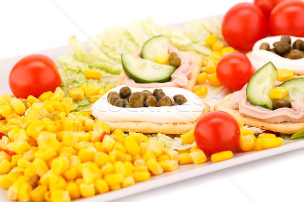 Hal krém sütemények csemegekukorica koktélparadicsom saláta Stock fotó © ruzanna