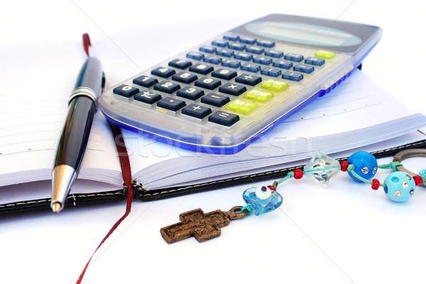 Calculator, pen and notebook Stock photo © ruzanna