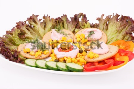 Krém csemegekukorica zöldségek fehér tányér étel Stock fotó © ruzanna