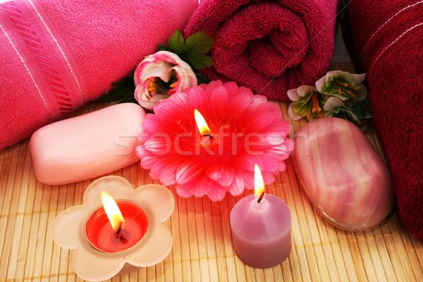 Foto stock: Toalhas · flores · velas · textura · fogo · rosa