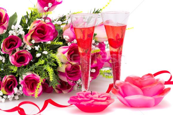 Blumen zwei Gläser Kerzen Stock foto © ruzanna