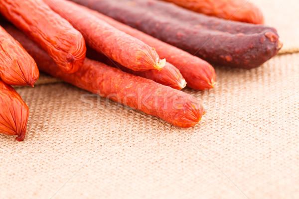 Friss kolbászok vászon étel szövet hús Stock fotó © ruzanna