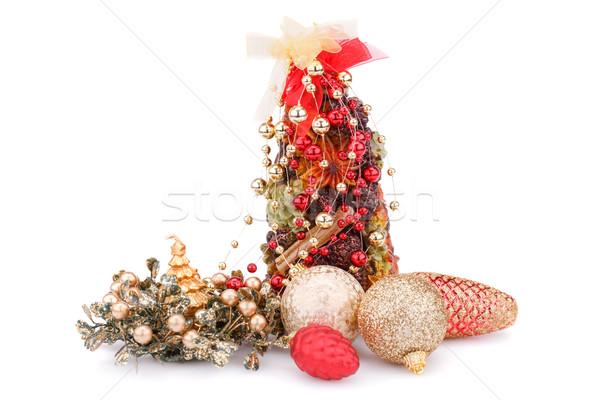 Stock fotó: Karácsony · dekoráció · gyertyák · golyók · izolált · fehér