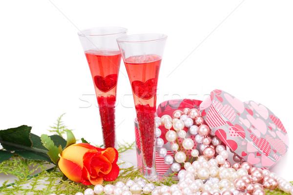 Valentin nap kettő szemüveg rózsa színes gyöngyök Stock fotó © ruzanna