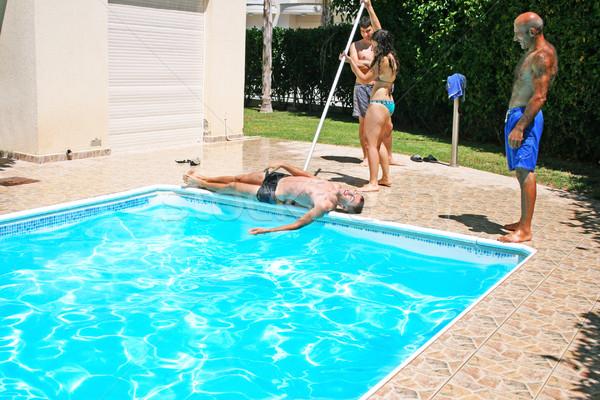 Ludzi basen kobieta przyjaciela wody Zdjęcia stock © ruzanna