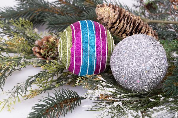 Navidad decoración colorido rama gris Foto stock © ruzanna