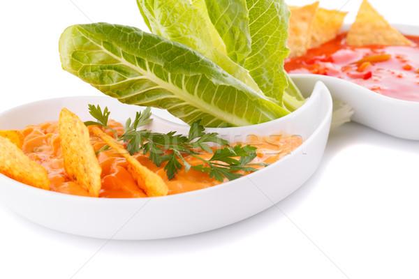 Nachos queijo vermelho molho legumes isolado Foto stock © ruzanna