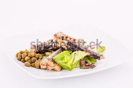 Hal tányér paprikák saláta fehér étel Stock fotó © ruzanna
