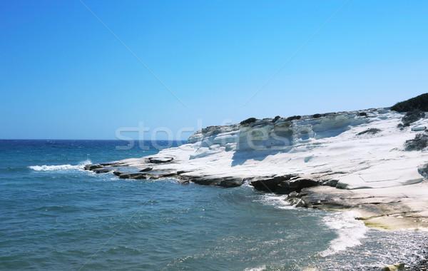 Tájkép tengerpart kő Ciprus égbolt víz Stock fotó © ruzanna