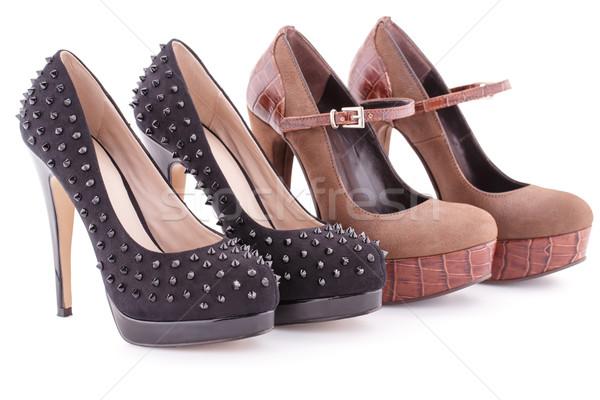 Cipők kettő pár barna fekete izolált Stock fotó © ruzanna