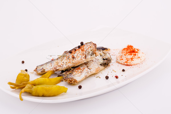 Stock photo: Fish on plate