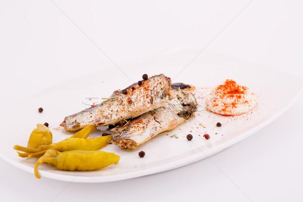 Fish on plate Stock photo © ruzanna