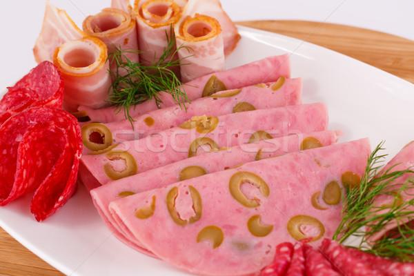 Szalámi szalonna tányér fa deszka étel fa Stock fotó © ruzanna