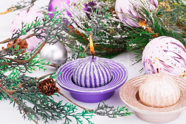 Рождества украшение розовый свечу Сток-фото © ruzanna