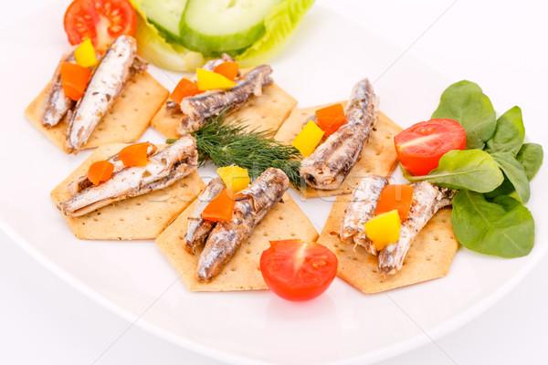 рыбы овощей белый пластина томатный Сток-фото © ruzanna