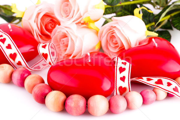 Stock photo: Red heart candles, necklace and roses