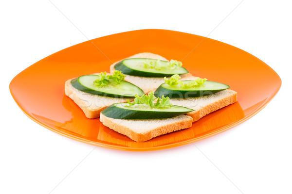 Бутерброды салата огурца пластина изолированный белый Сток-фото © ruzanna