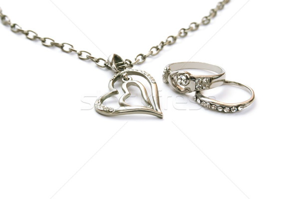 Two heart necklace and two rings Stock photo © ruzanna