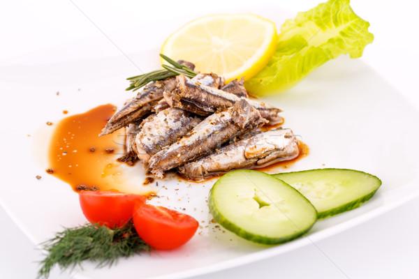 рыбы овощей лимона белый пластина перец Сток-фото © ruzanna