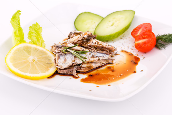Stock photo: Fish, vegetables and lemon