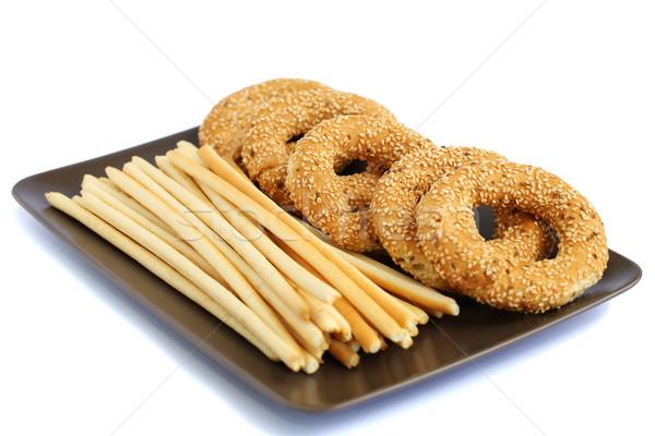 Сток-фото: хлеб · пластина · изолированный · белый · текстуры · продовольствие