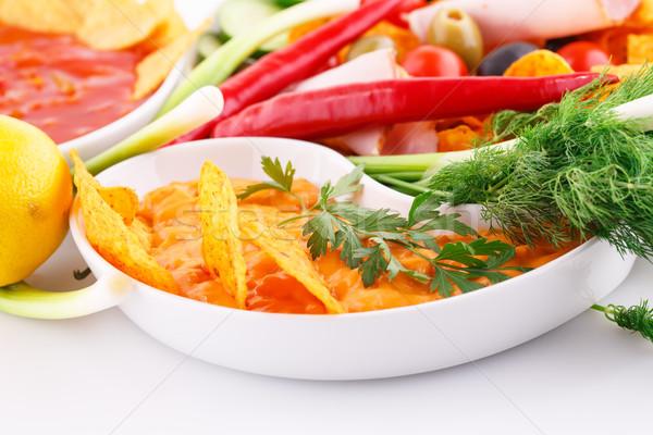 ナチョス チーズ 赤 ソース 野菜 画像 ストックフォト © ruzanna