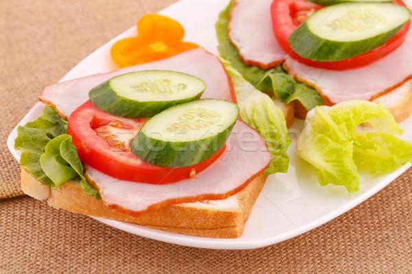 Бутерброды овощей бекон пластина лист зеленый Сток-фото © ruzanna