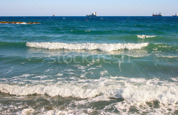 Tengeri kilátás kék mediterrán tenger hullámok hajó Stock fotó © ruzanna