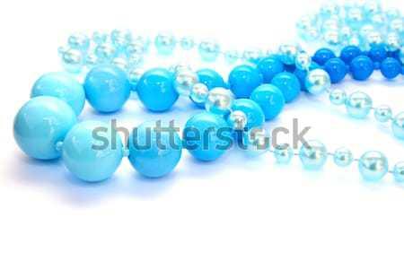 Collana blu agata isolato bianco sfondo Foto d'archivio © ruzanna