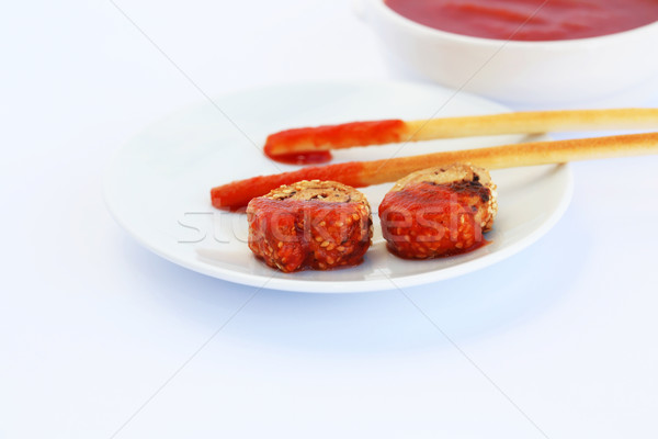 Szezámmag kenyér mártás piros izolált szürke Stock fotó © ruzanna