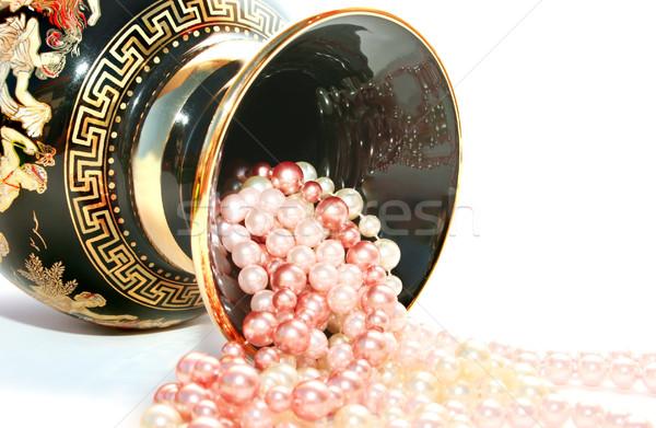 Stock fotó: Görög · váza · gyöngyök · izolált · fehér · modell