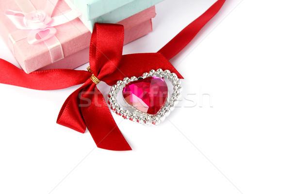 Red heart, ribbon and gift boxes Stock photo © ruzanna