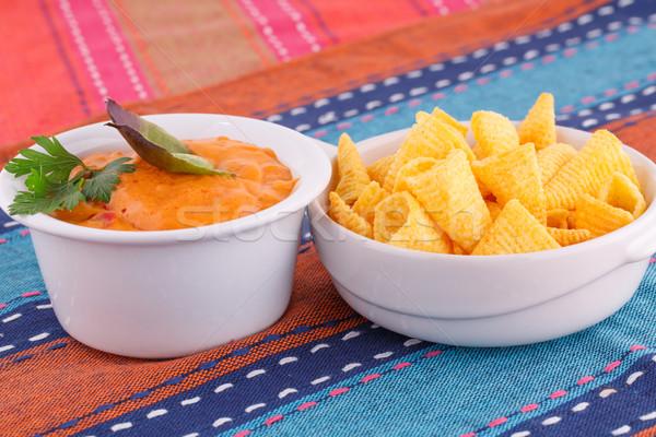 ナチョス チーズ ソース カラフル タオル 背景 ストックフォト © ruzanna